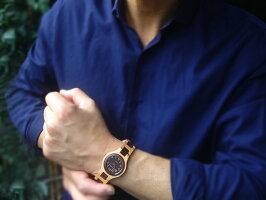 tense木製ラウンド型腕時計(メイプルウッド&サンダルウッド)