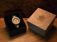 tenseラウンド型木製腕時計(ダークサンダルウッド)