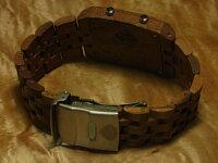 tenseデュアルタイム型モデル木製腕時計(ウォルナット)