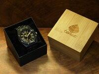 オクタゴンプレステージモデル木製腕時計(ダークサンダルウッド)