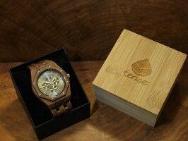 オクタゴンプレミアムモデル木製腕時計(ウォルナット)