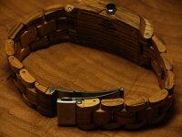 トノー型木製腕時計(ゼブラウッド)