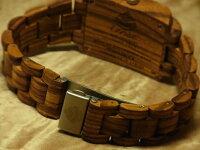 tenseトノー型木製腕時計(ゼブラウッド)