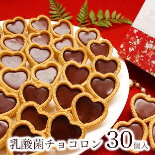 バレンタイン チョコ チョコレート プチギフト 義理チョコ 2021 お菓子 大量 友チョコ 子供 おしゃれ 個包装 小分け 大人数 生チョコ タルト 常温 個包装【乳酸菌チョコロン アソート30個入】の画像