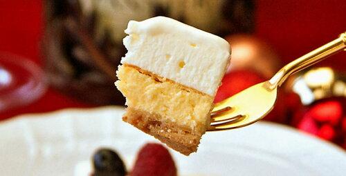幸せのダブルチーズケーキ:フォークで