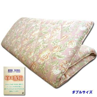 3層增加分量高級羊毛混合墊被鋪設被褥式羊毛被褥雙長花紋粉紅羊毛140*210cm厚度7cm05P03Dec16