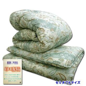 羊毛被褥安排加寬單人床羊毛混合被子羊毛混合墊被◆新西蘭產羊毛賒帳墊被安排組被褥佩斯利綠色日本製造05P03Dec16