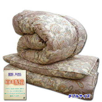 增加分量高級羊毛被褥安排雙羊毛混合被子羊毛混合墊被◆新西蘭產羊毛賒帳墊被安排組被褥佩斯利粉紅日本製造