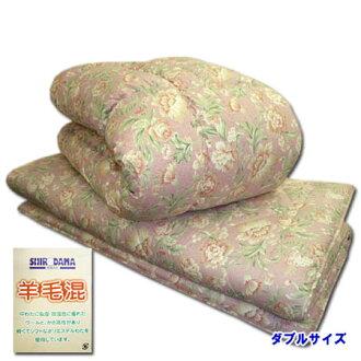 增加分量高級羊毛被褥安排雙羊毛混合被子羊毛混合墊被◆羊毛賒帳墊被安排組被褥厚度7cm花紋粉紅日本製造