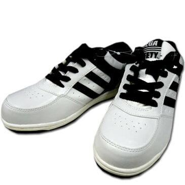 安全靴 安全スニーカー MEGA SAFETY メガセーフティ MK-7790 喜多 樹脂先芯 セーフティスニーカー 24.5〜28.0cm ホワイト×ブラック 白黒