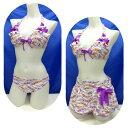 【セール】【送料無料!】 レディース 水着 ビキニ3点セット スカート付 7S(10713)■PRIVATE LABEL( プライベートレーベル) 花柄 白 紫 女性水着 7号