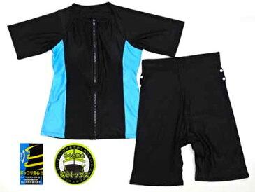 水着 フィットネス レディース 女性用 半袖 メール便送料無料 めくれ防止 9Mサイズ(13098) スイムウエア 黒 水色