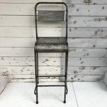 アイアンパイプカウンターチェア/ハイチェアSH700mm/ヴィンテージラスティックインダストリアル一点もの椅子(IFN-78)