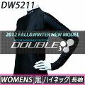 【DOUBLE3(ダブルスリー/ダブル3)】レディース(WOMENS)DW-5211BKロングスリーブハイネックブラックロゴ入り(DW5211BK)
