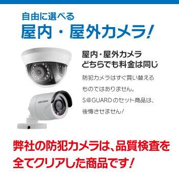 防犯カメラ 監視カメラ 3台 屋外用 屋内用 から選択 防犯カメラセット 監視カメラセット 4ch ハードディスクレコーダー/HDD別売 HD-TVI FIXレンズ 赤外線付き バレット型 ドーム型 カメラ 遠隔監視可