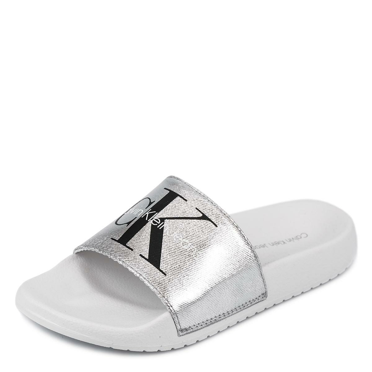 サンダル, スポーツサンダル Calvin Klein Jeans 34R3654 CHANTAL METAL CANVAS SANDALS SILVERWHITE