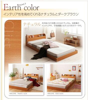 ベッド棚コンセント付きフロアベッドポケットコイルマットレス付きダブルアウトレット家具北欧シンプルモダン