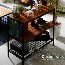 スチールラック 3段 ラック 木製 棚 オープンラック 北欧 ディスプ...