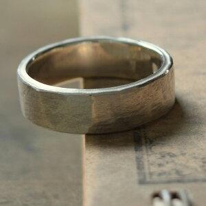 タタきのリング(中) メンズ レディース ハンドメイド オーダー シルバー 槌目 シンプル 上品 おしゃれ 指輪 Silver 950 マモる ごつめ ゴツめ 手作り 手づくり