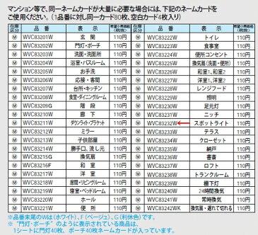 WVC83232W パナソニック コスモシリーズワイド21配線器具 ネームカード (スポットライト)