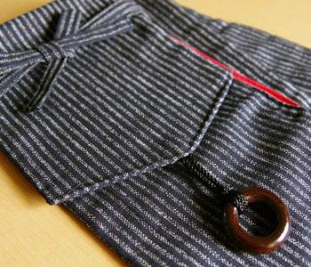 剣道具竹刀袋(3本入り)&巾着袋のセット(合皮・黒)縞柄