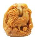 送料無料 天然石 イエロージェイド翡翠 にわとり 彫刻1点もの 原石 ...