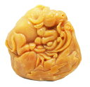 送料無料 天然石 イエロージェイド翡翠 牛 彫刻1点もの 原石 コレク...