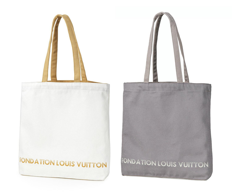 レディースバッグ, トートバッグ  FONDATION LOUIS VUITTON FLV White Grey Canvas Tote Bag