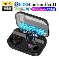 ワイヤレスイヤホンbluetooth5.0ブルートゥースイヤホンカナル型3000mAh大容量両耳左右分離型重低音LED残量表示【90日保証】最新Bluetoothマイク内蔵技適認証済自動ペアリングIPX7防水