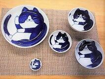 お買い得5点セットねこちぐらハチワレ20cm皿・10cm皿・12cm小鉢・ごはん茶碗・箸置き各1個