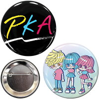 メール便OK1通180円PKAコラボ缶バッジキーホルダー4点セットサンキューマート//10