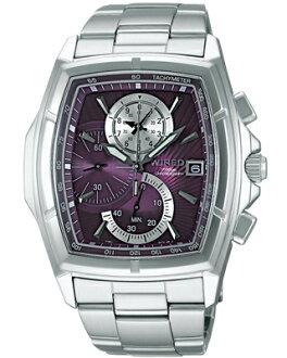 SEIKO Seiko WIRED wired new standard 1 / 100 sec chronograph men's watch-purple / silver AGAV049