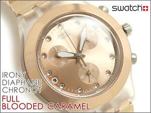Swatch スウォッチ メンズ 男性用 腕時計 クロノグラフ ピンクゴールド FULL BLOODED CARAMEL ...