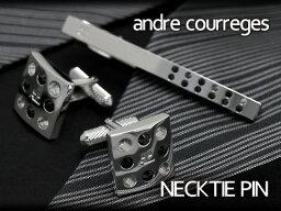 【andre courreges】アンドレ・クレージュ ネクタイピン スワロフスキー シルバー×ブラック ACT4005 【セットではありません】