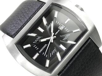 Diesel men's watches matte black dial black leather belt DZ1116