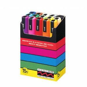 【POSCAポスカ中字15色セット PC-5M15C】いろんな素材に書けて鮮やかな発色の水性マーカー※DM便不可[三菱鉛筆]