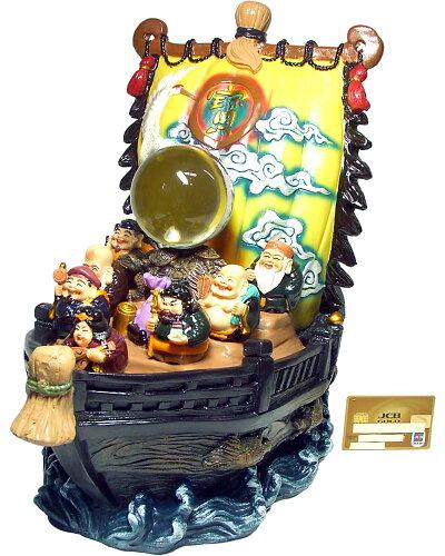 開運 水晶付 七福神 宝船 (カラー) 大<開運・幸運のインテリア置物>【...
