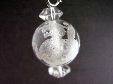天然彫り水晶貔貅ストラップ(ヒキュウストラップ)<風水グッズ・開運グッズ・幸運の御守りラッキーアイテム> ひきゅう