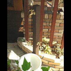 立水栓・水栓・蛇口シリーズWater Stand カラー:ダークアッシュ2種類の蛇口付、立水栓スタ...