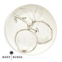ROSYRINGSセラミックラウンドプレート≪アップル≫ボタニカルキャンドル用トレイ(ф22cm)