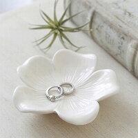 Classicalフラワープレート(ホワイト)陶器製アンティーク小物入れトレイボタニカルモチーフ木の葉【あす楽対応】