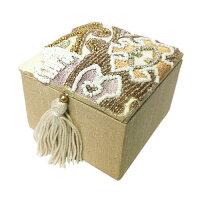 EmbroideryBoxビーズ刺繍スクエアボックス≪ベージュ≫タッセル付きファブリックケース小物【あす楽対応】