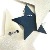 STARGARLANDスターガーランド(ネイビー×シルバー)全長150cm木製星モチーフ【あす楽対応】