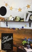 STARGARLANDスターガーランド(シルバー×ゴールド)全長150cm木製星モチーフ【あす楽対応】