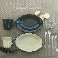 FICELLEオーバルボウルプレート(WHITE/NAVY)日本製陶器【あす楽対応】