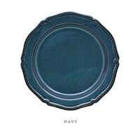 FICELLEケーキプレート(WHITE/NAVY)ф19.5cm日本製陶器【あす楽対応】