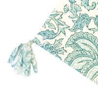 Botanicalブロックプリントコースター≪クレマチスBL≫タッセル付きボタニカル花柄ファブリック【メール便可170円】【手洗い可能】【あす楽対応】