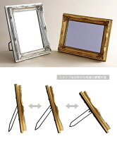 Operettaヴィンテージスタンド&ウォールミラー≪アイボリー≫アンティーク額縁フレーム鏡17.4cm×22.4cm立て掛け壁掛け【あす楽対応】