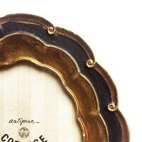 ClassicalWaveアンティークオーバルフォトフレーム≪L/ブラック≫15.5cm×20.5cm額縁シャビークラシックスタンドゴールドインテリアディスプレイ壁掛け【あす楽対応】