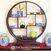 シノワズリ珍品棚木製丸型中中国家具飾り棚円形